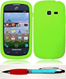 Accessory Factory(TM) Bundle (the item, 2in1 Stylus Point Pen) For Samsung Galaxy Centura S738C S730G Discover Case Silicone Skin Cover - Neon Green Soft Jelly Rubber Phone Protector