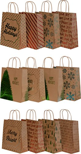 Kraft Holiday Gift Bags, foil hot-stamp designs, 12 Large bags in assorted Christmas prints