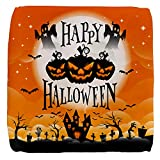 18 Inch 6-Sided Cube Ottoman Happy Halloween Ghosts Pumpkins