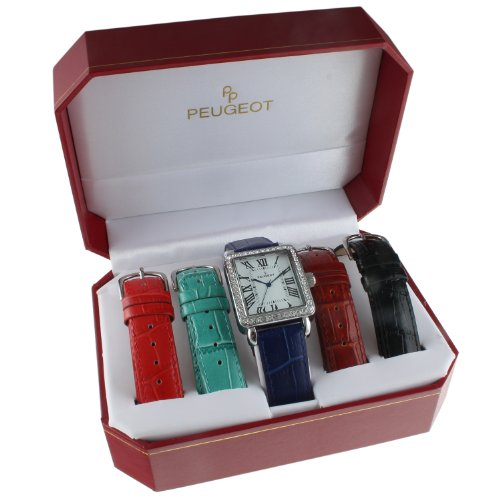 peugeot-womens-silver-tone-crystal-bezel-roman-numeral-dial-with-five-interchangeable-leather-bands-