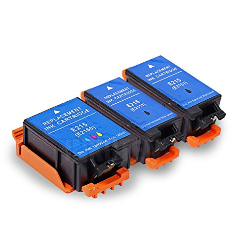 INKUTEN TM Replacement Epson 215 T215 T215120 T215530 Ink Cartridge (2 Black, 1 Color) - 3 Pack For Epson WF-100