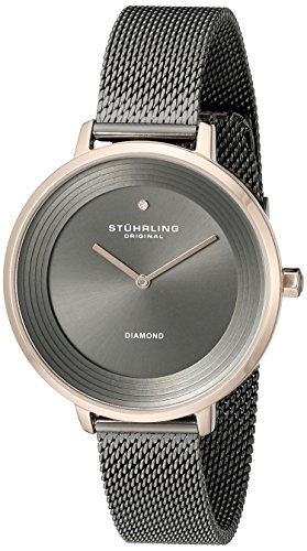 Stuhrling Original 589.04 Orologio da Polso, Display Analogico, Donna, Cinturino Acciaio Inox, Grigio