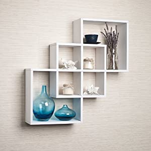 Intersecting squares decorative white wall - Decorative books for shelves ...