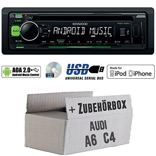 Audi A6 C4 - Kenwood KDC-100UG - CD/MP3/USB iPod/Android-Steuerung Autoradio - Einbauset