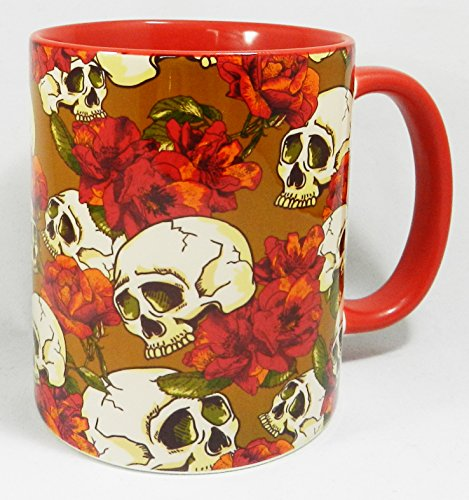 Skull and Flowers Design on Ceramic Mug with a red glazed handle and inner