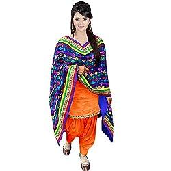 Cozer Creartion Cotton Patiyala Orange Salwar Suit Dress Material