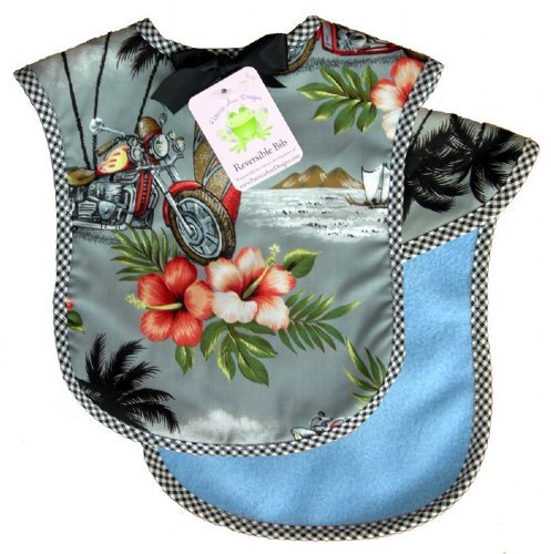 Reversible Bib In Harlee Hawaiian With Blue Fleece And Black Gingham Check front-926583