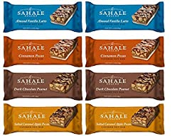Sahale Snacks Layered Nut Bars 4 Flavor 8 Bar Variety Bundle: (2) Almond Vanilla Latte Bars, (2) Salted Caramel Apple Pecan Bars, (2) Dark Chocolate Peanut Bars, & (2) Cinnamon Pecan Bars, 1.4 Oz Ea