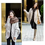 DAYISS® Womens Girls Bat Wing Thick Loose Sweater Wool Knit Shawl Cardigan Coat Outwear (Beige)