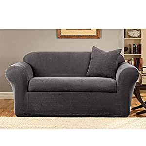 Sure Fit Stretch Metro 2 Piece Loveseat Slipcover Gray Home Kitchen