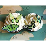 Edible Butterflies  copy Small Green Set of 24 Cake and Cupcake Toppers Decora