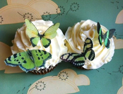 Edible Butterflies © - Small Green Set of 24 - Cake and Cupcake Toppers, Decoration - 1