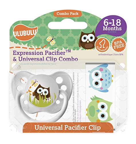 Ulubulu Owl Pacifier with Universal Pacifier Clip, 6-18 months