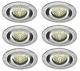 Led Einbauleuchten Set Einbaulampen 6x3W Aluminium 92mm warmweiss schwenkbar Angebot