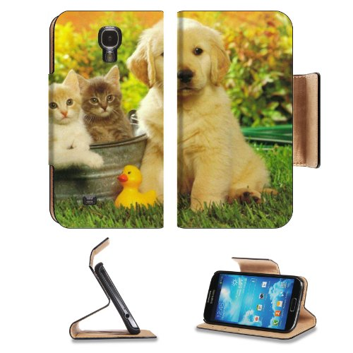 Kitten Puppy Friends Outside Play Time Samsung Galaxy S4 Flip Cover Case With Card Holder Customized Made To Order Support Ready Premium Deluxe Pu Leather 5 1/2 Inch (140Mm) X 3 1/4 Inch (80Mm) X 9/16 Inch (14Mm) Msd S Iv S 4 Professional Cases Accessorie front-52130