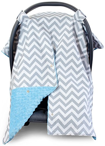 Premium Carseat Canopy Cover / Nursing Cover- Large Chevron Pattern w/ Blue Minky | Best Infant Car Seat Canopy, Boy or Girl | Cool/ Warm Weather Car Seat Cover | Baby Shower Gift 4 Breastfeeding Moms (Jj Cold Car Seat Cover compare prices)