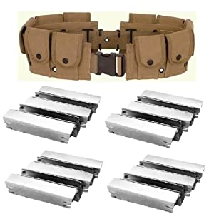 Ultimate Arms Gear Mosin Nagant M38 M44 91/30 1891 91 30 7.62x54 Rifle U.S. Military WWII Reproduction Khaki Tan 10 Pocket Utility Pouch Cartridge Tool Heavy Duty Cotton Canvas Belt + Pack Of 20 Reusable Steel Stripper Clips Clip - Holds 100 Rounds