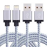 TOPLUS [2 Stück] 2m Nylon Lightning USB Kabel Ladekabel Datenkabel mit Aluminum Kopf für iPhone 6/6s/6 Plus/6s Plus/SE/5/5c/5s, iPad 4 Mini Air iPod Nano 7 iPod Touch 5 (Silberweiß)