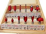 超硬チップ トリマー ルーター ビット 12個 セット 硬質炭素鋼 汎用 (赤ー細い溝)