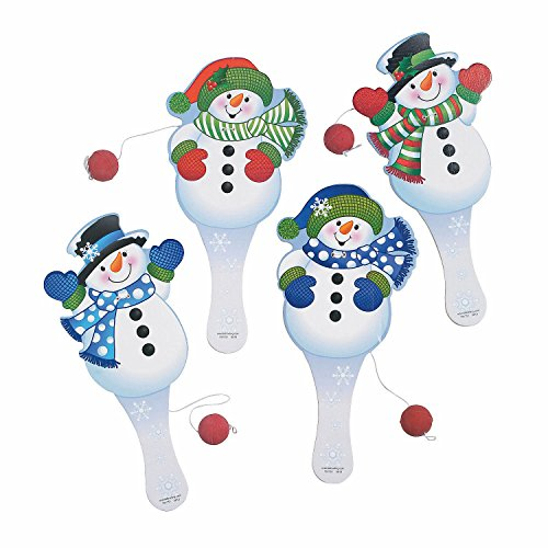 12 Snowman Paddle Ball Games - Snowman Paddleball Games - Christmas Stocking Stuffers