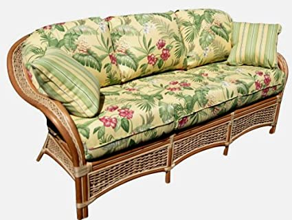 Islander Indoor Natural Rattan and Wicker Sofa by Spice Island Wicker