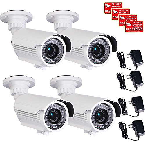 VideoSecu 4 Pack Built-in SONY Effio CCD Home CCTV Video IR Zoom Bullet Security Cameras 700 TVL Outdoor Day Night 4-9mm Zoom Focus Lens 42 Infrared Leds for DVR Surveillance with Power Supplies CMN