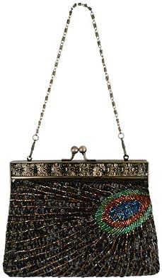 MG Collection Black Antique Beaded Sequin Peacock Clutch Evening Handbag / Purse