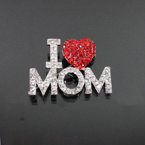 I Love Mom Rhinestone Brooch Fb5106-bc110