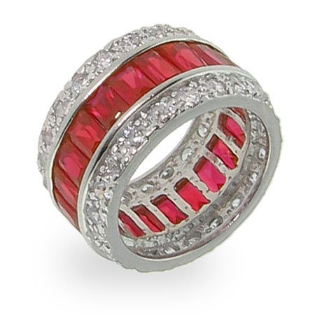 Ruby Red Sterling Silver CZ Anniversary Band Size 5 (Sizes 5 6 7 8 9 10 Available)