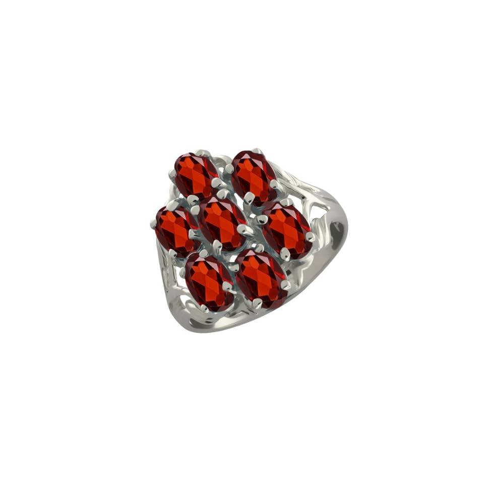 3.85 Ct Oval Red Garnet 10k White Gold Ring