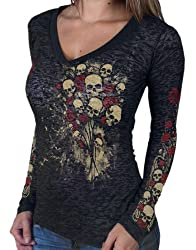 Hot Leathers Black Skull Bouquet Ladies Burnout Long Sleeve Tee by Hot Leathers