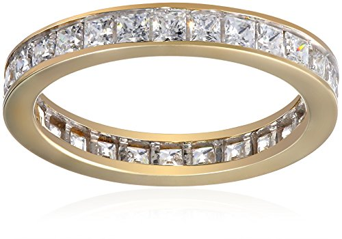 10k Yellow Gold Square All-Around Band Ring Made with Swarovski Zirconia (1 1/4 cttw), Size 7