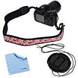 BIRUGEAR 49mm Lens Cap with Strap + Pink DSLR Camera Neck Shoulder Strap + Microfiber Cleaning Cloth for FujiFilm X Series X100S ; Sony Interchangeable Lens Alpha NEX-F3 with E-mount 18-55mm F3.5-5.6 Lens