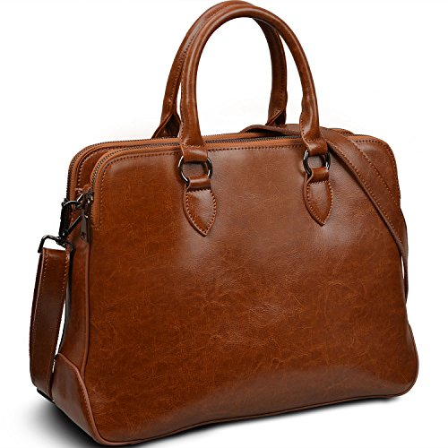 "Yaluxe Women's Leather Briefcase 13"" Laptop Handbags (Brown)"