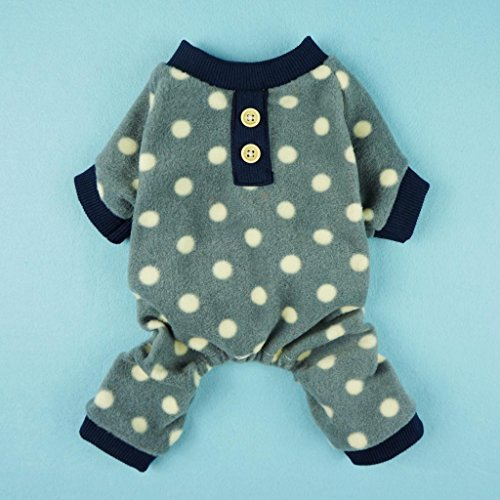 Fitwarm Adorable Polka Dots Fleece Dog Pajamas Pet Coats Soft Pjs Apparel, Medium