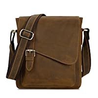 Kattee Unisex Crazy Horse Leather Small Messenger Shoulder Bag from Kattee