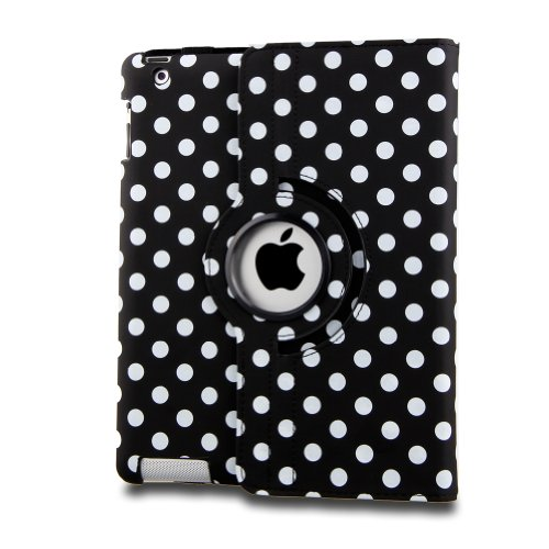 Auto Sleep/Wake Function 360 Degree Rotating Smart Case Cover For 7.9 Inch Apple Ipad Mini/Ipad Mini 2 With Retina With A Stylus As A Gift--Polka Dot Pattern,Black
