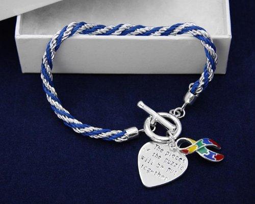 Autism Ribbon Bracelet-Rope (18 Bracelets)