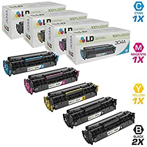 LD © Remanufactured Replacement for Hewlett Packard (HP) Color LaserJet CM2320 Set of 5 Color Toner Cartridges: 2 CC530A Black and 1 of each CC531A Cyan, CC533A Magenta, and CC532A Yellow