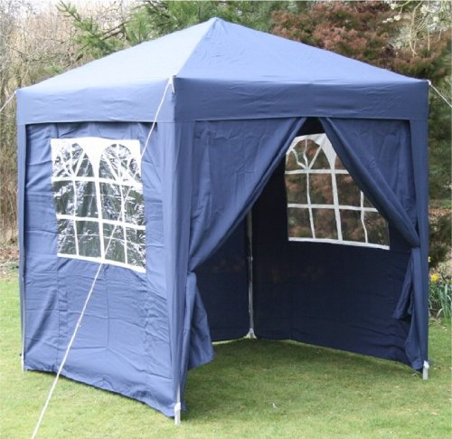 2.0x2.0mtr BLUE Pop Up Gazebo, FULLY WATERPROOF with Four Side Panels and Carrybag