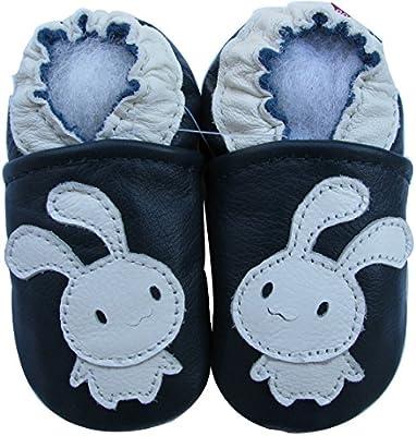 Carozoo Baby Unisex soft sole leather infant toddler kids shoes Bunny Navy Blue