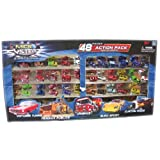 Micro SystemZ Mini Cars 48 Piece Action Pack of 40 Assorted Vehicles/Machines & 8 Road Signs - Fire & Rescue, Police, Hotrods, Sports Cars & More