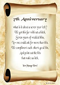 Wedding Gifts For 7th Anniversary : 7th Anniversary Personalised Poem Gift Print: Amazon.co.uk: Kitchen ...