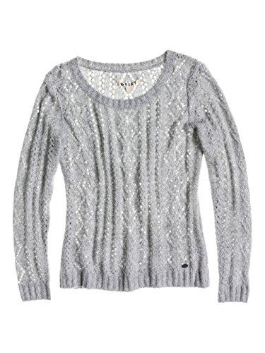 Roxy Damen Pullover Bristol Bay, Einfarbig, Gr. 40 (Herstellergröße:Large), Weiß (Heritage Heather)