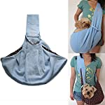 i'Pet® Hands-free Reversible Small Dog Cat Sling Carrier Bag Travel Tote Soft Comfortable Puppy Kitty Rabbit Double-sided Pouch Shoulder Carry Tote Handbag (Blue)