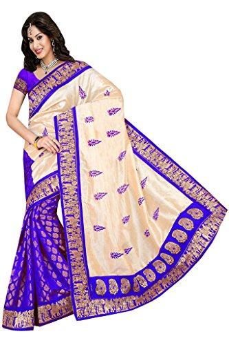 ISHIN Bhagalpuri Silk Blue & Beige Printed Saree