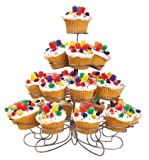 U.S. Cake Supply Brand 23 Slot 4 Tier Metal Curly Wire Cupcake Dessert Holder Stand Cake Muffin - Great for Wedding, Birthday Party, Holidays, Etc