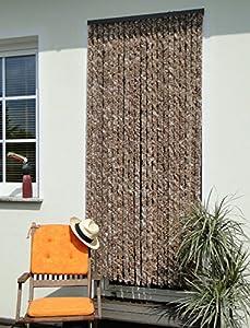 leguana rideau de porte en chenille marron beige 90. Black Bedroom Furniture Sets. Home Design Ideas