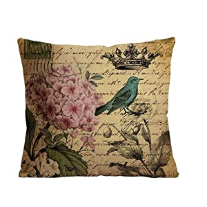 "ilkin Decorative vintage bird Cotton Linen Square Decorative Throw Pillow Case Cushion Cover ""18 X 18 """