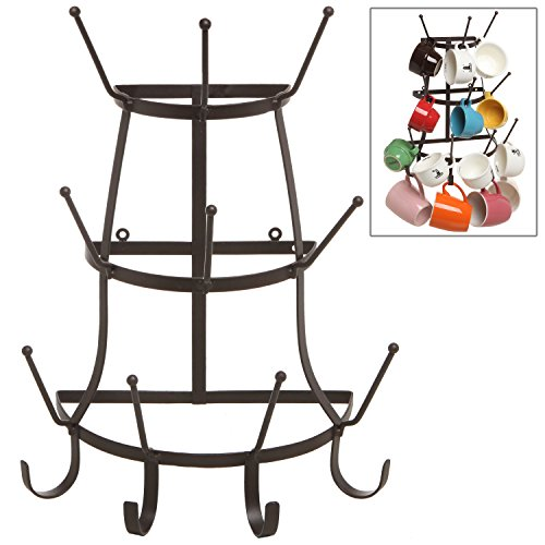 Vintage Rustic Brown Metal Wall Mounted 14 Hook Bottle & Mug Storage Organizer Tree Drying Rack - MyGift® (Cup Rack Wall Mount compare prices)